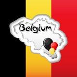 Belgien-Unabhängigkeitstaggrußkartenschablone mit Flagge, Kartenschattenbild und Ballonen Stockbilder