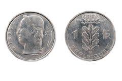 Belgier eine Frankenmünze 1980 stockbild