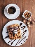 Belgijscy gofry z lody i coffee-4 Obraz Royalty Free