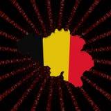 Belgijska mapy flaga na czerwonej hex kodu wybuchu ilustraci Obraz Royalty Free
