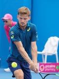 Belgijski gracz w tenisa David Goffin narządzanie dla australianu open Obrazy Stock
