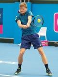 Belgijski gracz w tenisa David Goffin narządzanie dla australianu open przy Kooyong Klasycznym Powystawowym turniejem Fotografia Stock