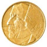 5 Belgijskiego franka moneta Zdjęcia Stock