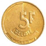 5 Belgijskiego franka moneta Obraz Stock