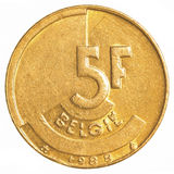 5 Belgisch frankmuntstuk Stock Afbeelding