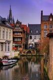Belgisch stadskanaal Royalty-vrije Stock Afbeelding