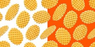Belgisch wafels naadloos die patroon op witte achtergrond wordt geïsoleerd stock afbeelding