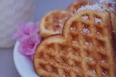 Belgisch Wafelshart met Roze Bloemen Het Concept van het voedseldessert Sluit omhoog stock afbeeldingen