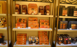 Belgische chocoladedozen Stock Foto's