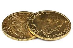 Belgische Goldmünzen Stockfoto