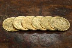 Belgische gouden muntstukken Stock Afbeeldingen