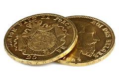 Belgische gouden muntstukken Royalty-vrije Stock Foto's