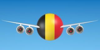 Belgische luchtvaartlijnen en flying& x27; s concept het 3d teruggeven Royalty-vrije Stock Afbeeldingen