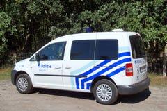 Belgische Politiewagen k-9 eenheids/Belgische politie autohondengeleider Stock Afbeeldingen