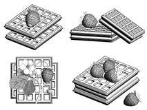 Belgische wafels met aardbeien 3d geef terug stock illustratie