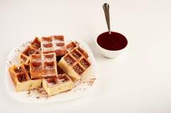 Belgische wafels met geraspt chocolade en suikerglazuur op een witte plaat Royalty-vrije Stock Fotografie