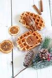 Belgische wafels op een witte achtergrond Stock Foto