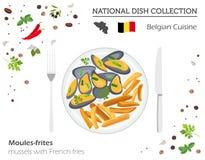 Belgisk kokkonst Europeisk nationell maträttsamling Musslor med stock illustrationer