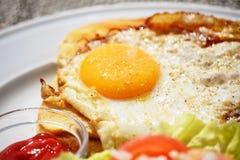 Belgisk maträttcroque-madam closeup Fotografering för Bildbyråer