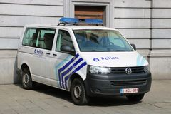 Belgisk polisbil Arkivbild