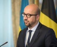 Belgisk premiärminister Charles Michel Arkivbilder