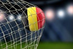Belgisk soccerball i netto arkivfoto