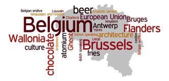 Belgium. Outline of the map of Belgium with overview of relevant topics regarding Belgium Royalty Free Stock Photos