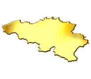 Belgium 3d Golden Map Royalty Free Stock Photos
