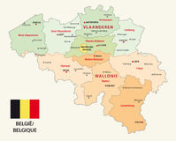 Belgium administrative map with flag Royalty Free Stock Photography