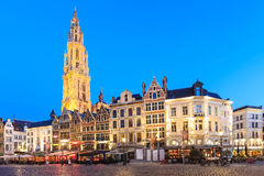 Belgium along the famous Meir Street and the lonely tower of the. Night scene in downtown Antwerp, Belgium along the famous Meir Street and the lonely tower of Stock Images
