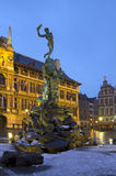 Belgium. Antwerp. The Brabo Fountain. Evening. Royalty Free Stock Photography