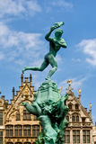 Belgium, Antwerp Brabo Fountain. On the Grande Place in Antwerp there is a dashing and high fountain reminiscent of the legend of Silvius Brabo, brandishing the stock photos