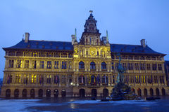 Belgium. Antwerp. The city hall. Evening. Royalty Free Stock Photography