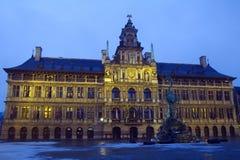 Belgium. Antwerp. The city hall. Evening. Royalty Free Stock Photography
