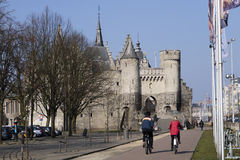 Belgium, Antwerp, March 17, 2016, Steen Castle on banks of Schel Stock Photography