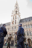 Belgium Army and Police in the city center of Brussels on November 23, 2015 Royalty Free Stock Photos