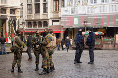 Belgium Army and Police in the city center of Brussels on November 23, 2015 Stock Photos