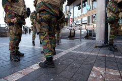 Belgium Army and police at Porte de Namur metro station in Brussels in December 2015 Stock Image