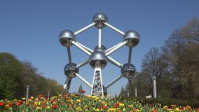 Belgium Atomium front view, colored flowers and blue sky, Europe tourism. UHD 4K stock footage