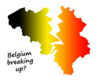 Belgium breaking up?. Belgium breaking up in a Dutch-speaking and a French-speaking part because of the political turmoil of the last years Royalty Free Stock Image