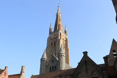 Belgium, Bruges, the tower of the Church of Our Lady royalty free stock photo