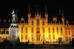 belgium Bruges urząd miasta noc Zdjęcie Stock