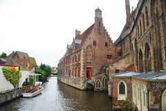 Belgium. Brugge. Canal. Bruges, Belgium. Image with medieval houses in the river canal Royalty Free Stock Photo