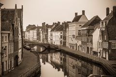 Belgium. Brugge. Old town, canal and historical buildings. Black and white photo Stock Photo