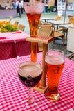 BELGIUM, BRUSSELS - CIRCA JUNE 2014: different sorts of Flemish beer. BELGIUM, BRUSSELS - CIRCA JUNE 2014: Three glasses with different sorts of Flemish or stock photo