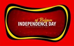 belgium Cartolina d'auguri di festa dell'indipendenza stile del taglio della carta illustrazione di stock