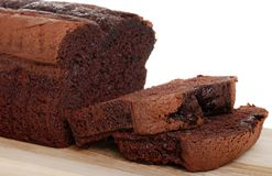 Belgium chocolate cake loaf focus on slice Royalty Free Stock Image
