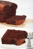 Belgium chocolate cake loaf slice Royalty Free Stock Image