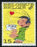 Gaston Lagaffe printed by Belgium. BELGIUM - CIRCA 1992: stamp printed by Belgium, shows Gaston Lagaffe, by Andre Franquin, circa 1992 royalty free stock photos