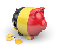 Belgium economy and finance concept for GDP and national debt crisis. Rendered in 3D over a white background Stock Photography